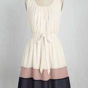 Modcloth Cream Maude & Navy Stripe Dress